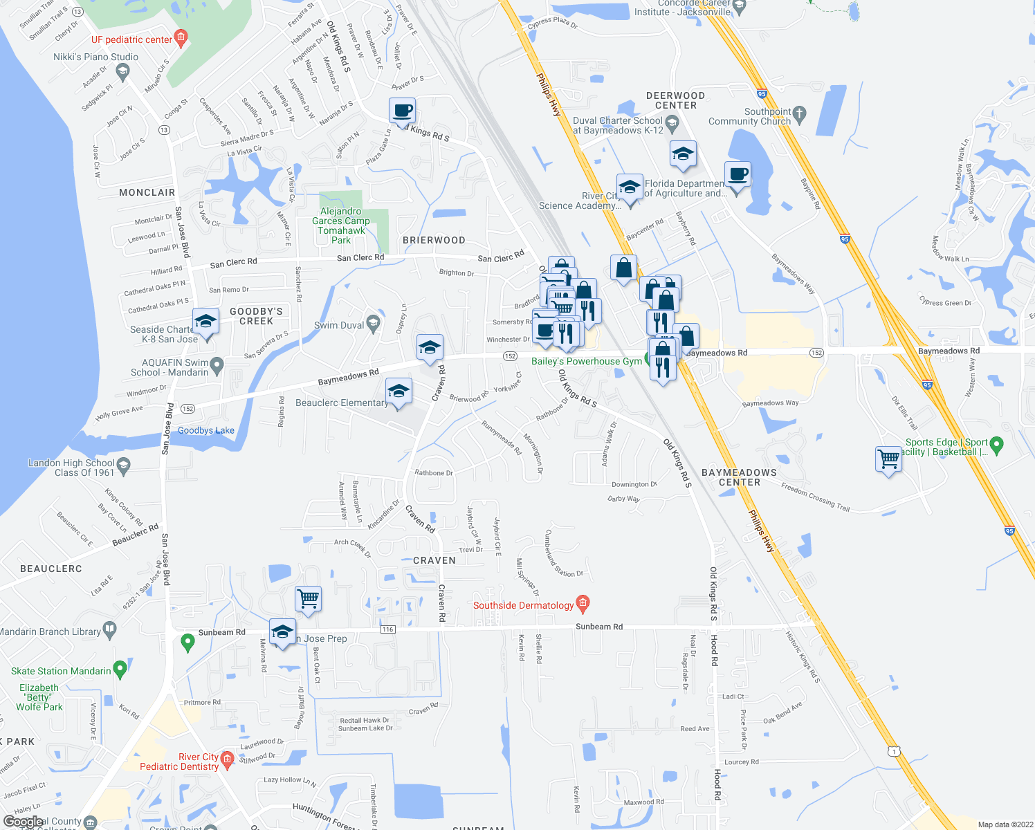 map of restaurants, bars, coffee shops, grocery stores, and more near 8970 Chiswick Court in Jacksonville
