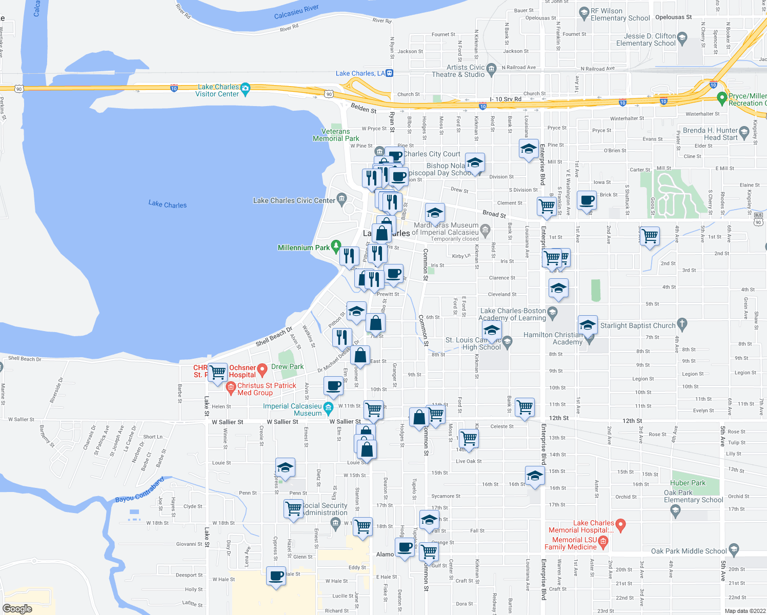 map of restaurants, bars, coffee shops, grocery stores, and more near Bilbo St & Peake St in Lake Charles