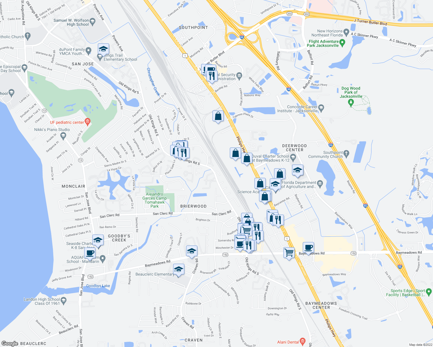 map of restaurants, bars, coffee shops, grocery stores, and more near 5141 Brompton Ct in Jacksonville