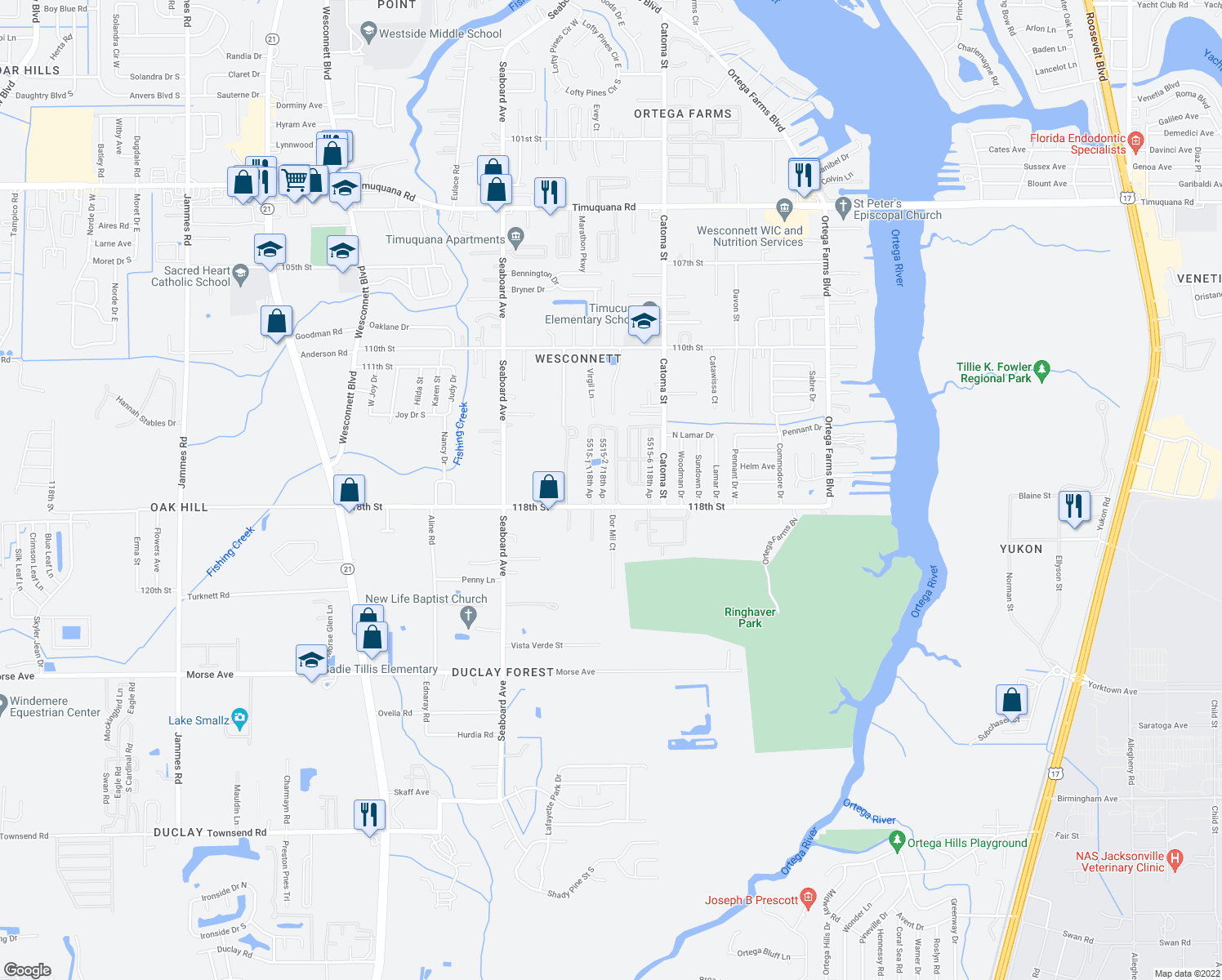 map of restaurants, bars, coffee shops, grocery stores, and more near 5515-1 118th Ap in Jacksonville