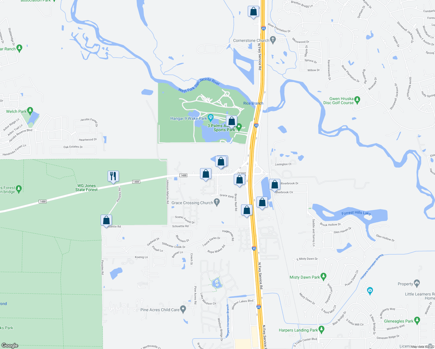map of restaurants, bars, coffee shops, grocery stores, and more near 822-1570 Farm to Market 1488 in Conroe
