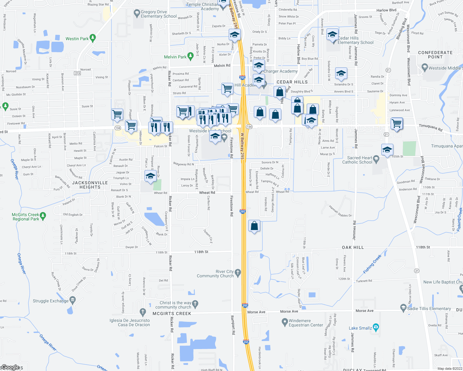 map of restaurants, bars, coffee shops, grocery stores, and more near 5928-2 Firestone Ap in Jacksonville