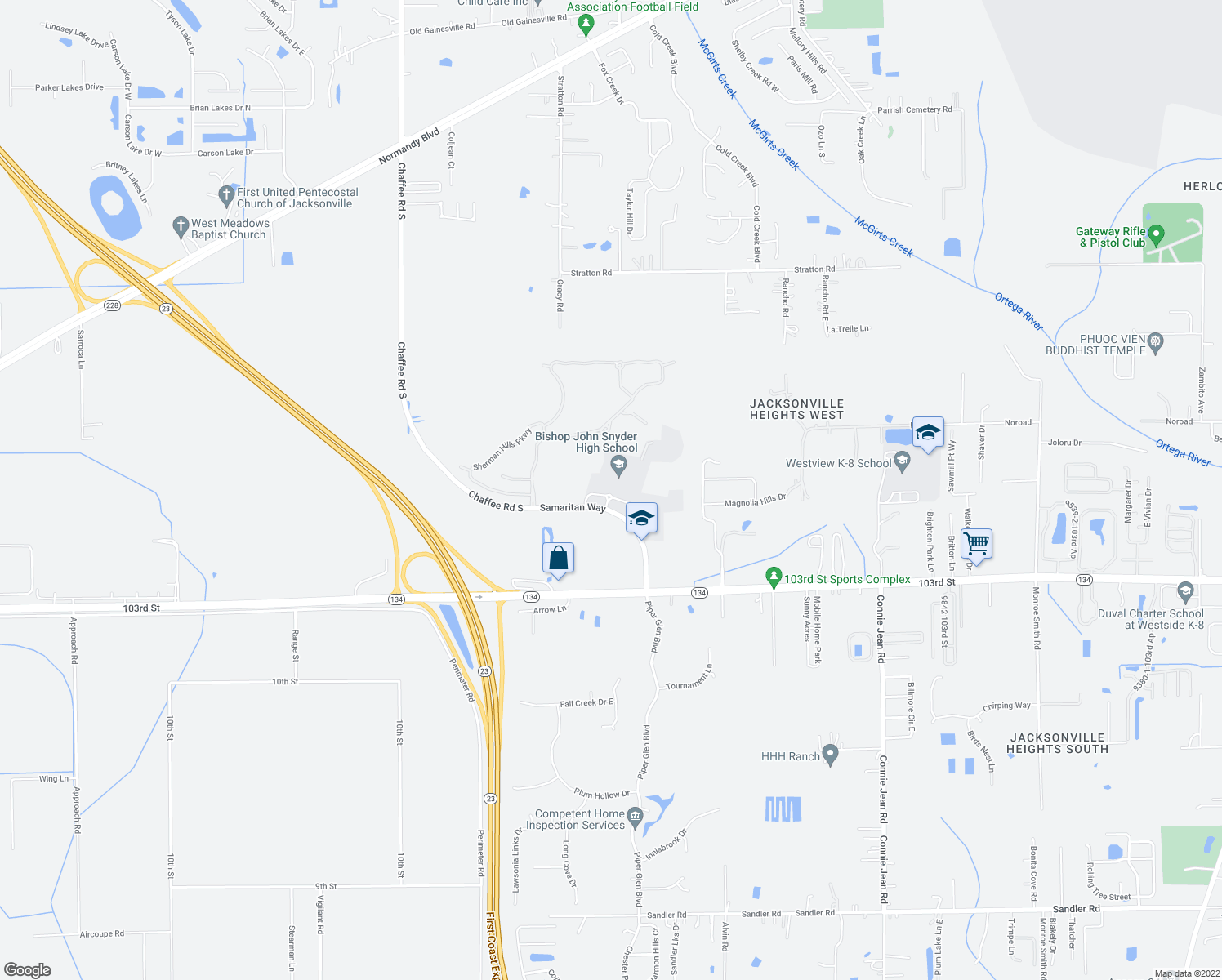 map of restaurants, bars, coffee shops, grocery stores, and more near Samaritan Way in Jacksonville