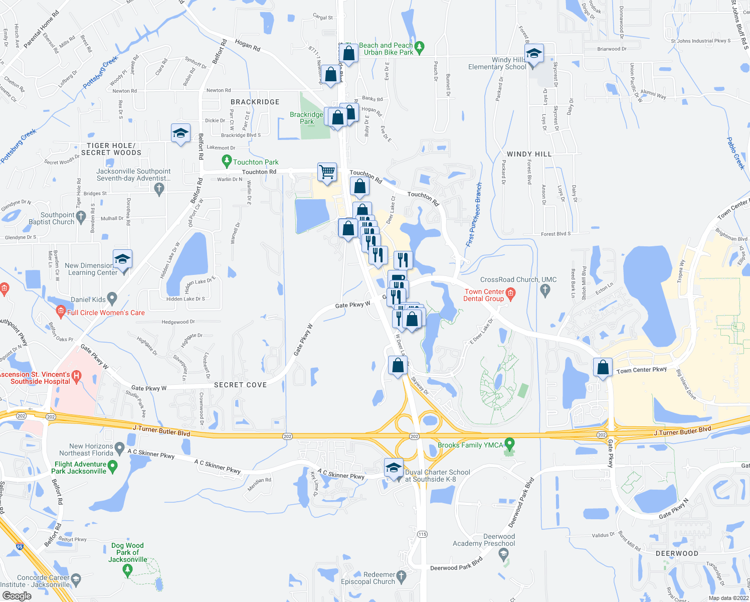 map of restaurants, bars, coffee shops, grocery stores, and more near Southside Blvd & Gate Pkwy W in Jacksonville