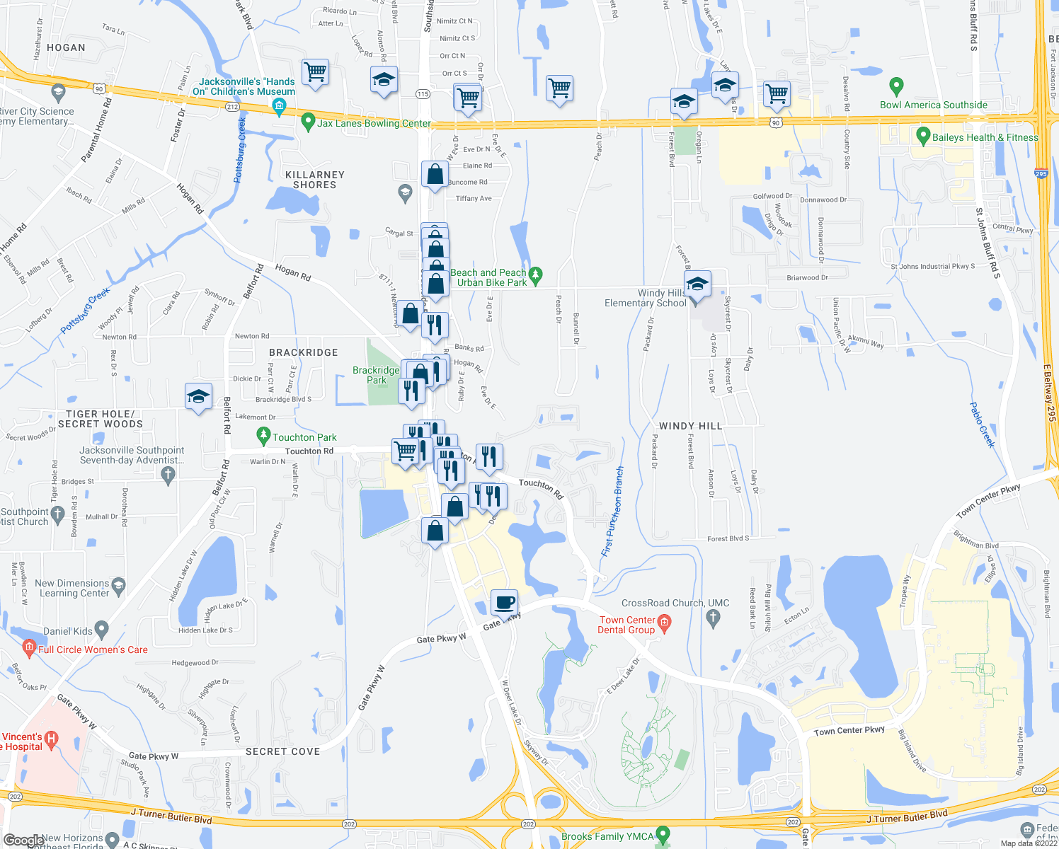 map of restaurants, bars, coffee shops, grocery stores, and more near 4239 Eve Drive East in Jacksonville
