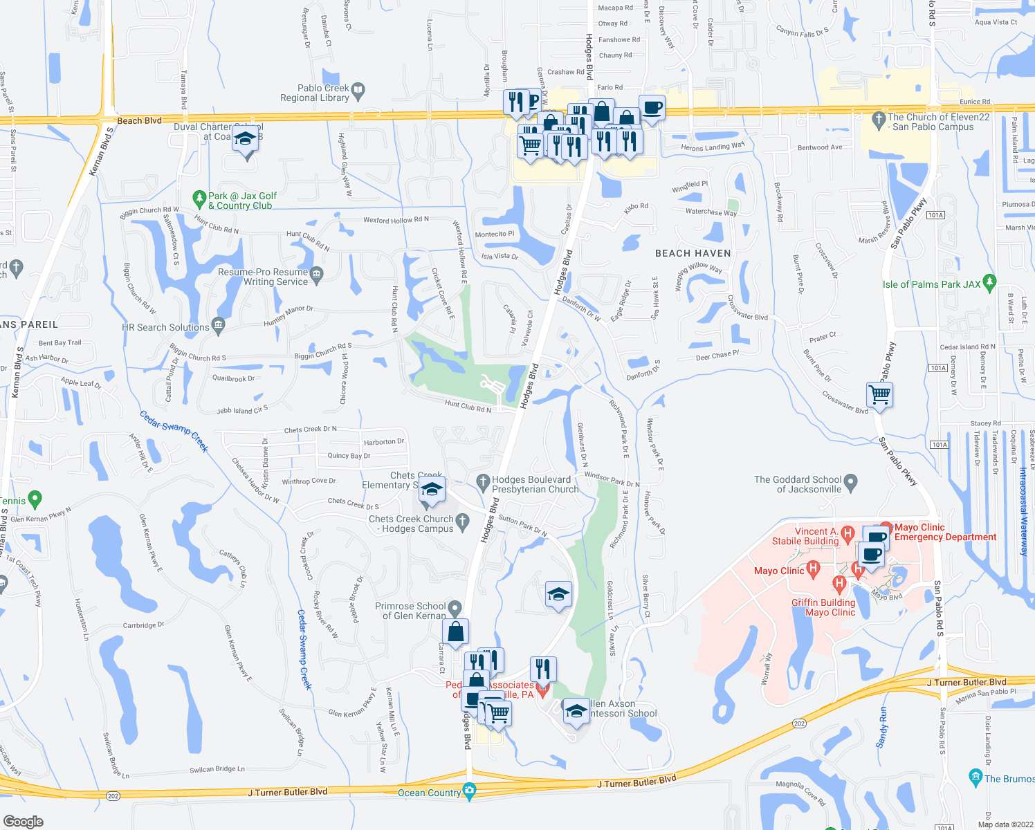 map of restaurants, bars, coffee shops, grocery stores, and more near 4000 Hodges Blvd in Jacksonville