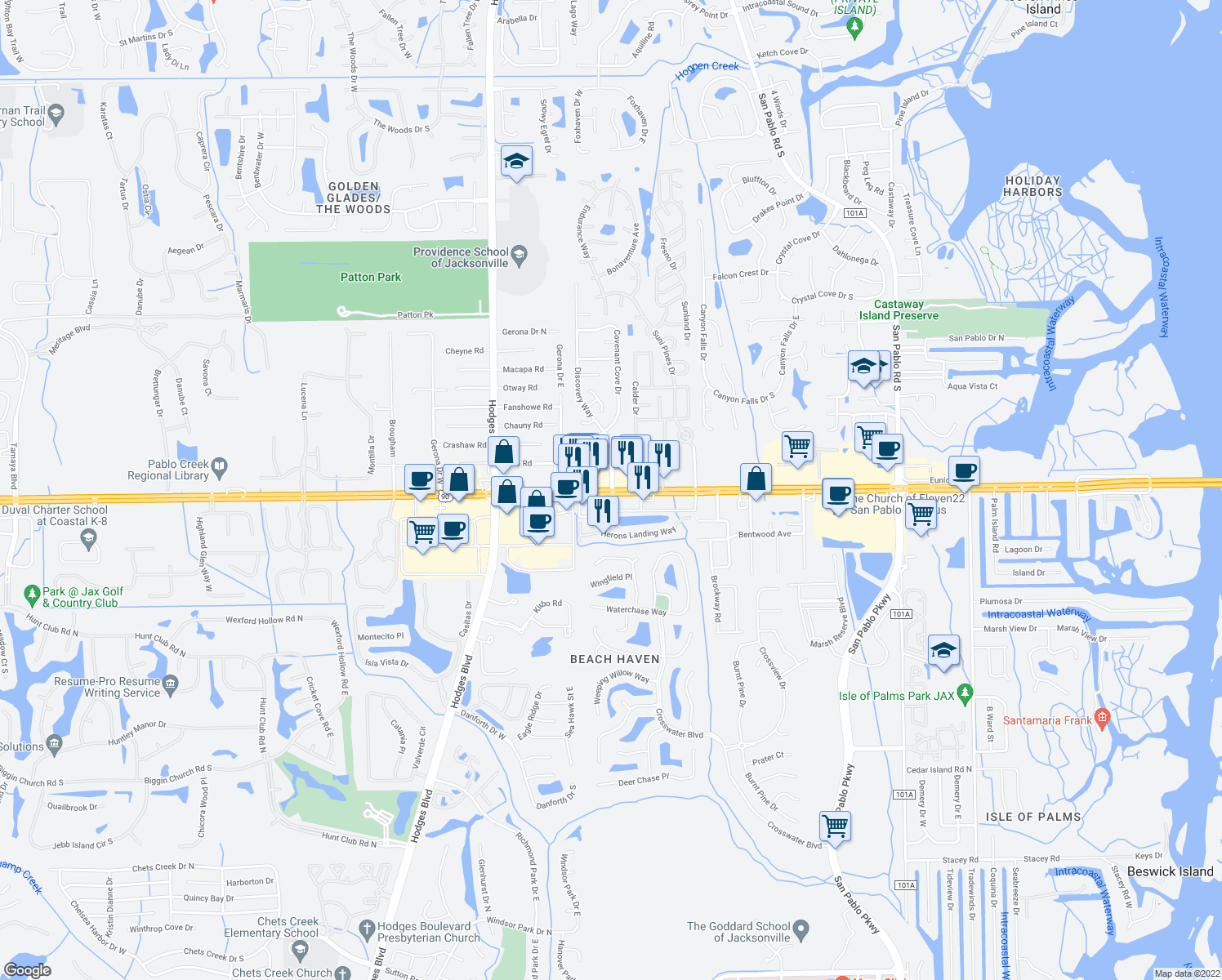 map of restaurants, bars, coffee shops, grocery stores, and more near Beach Blvd & Discovery Way in Jacksonville