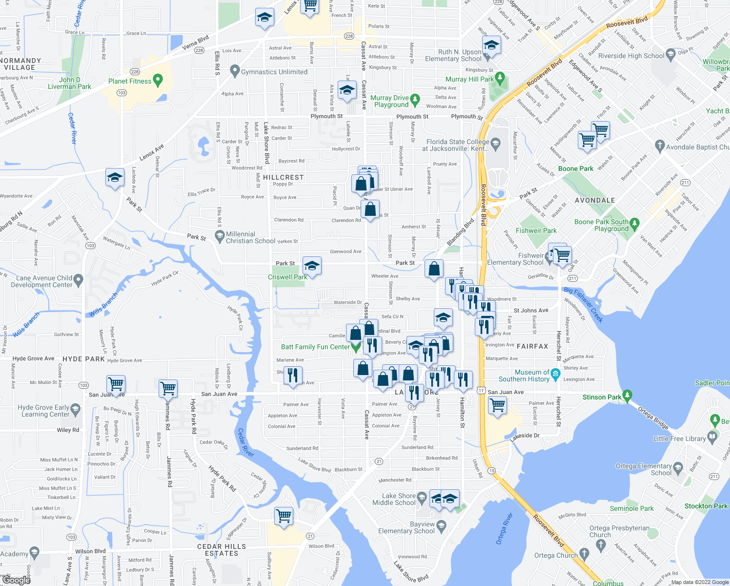map of restaurants, bars, coffee shops, grocery stores, and more near 1591 Lane Avenue South in Jacksonville