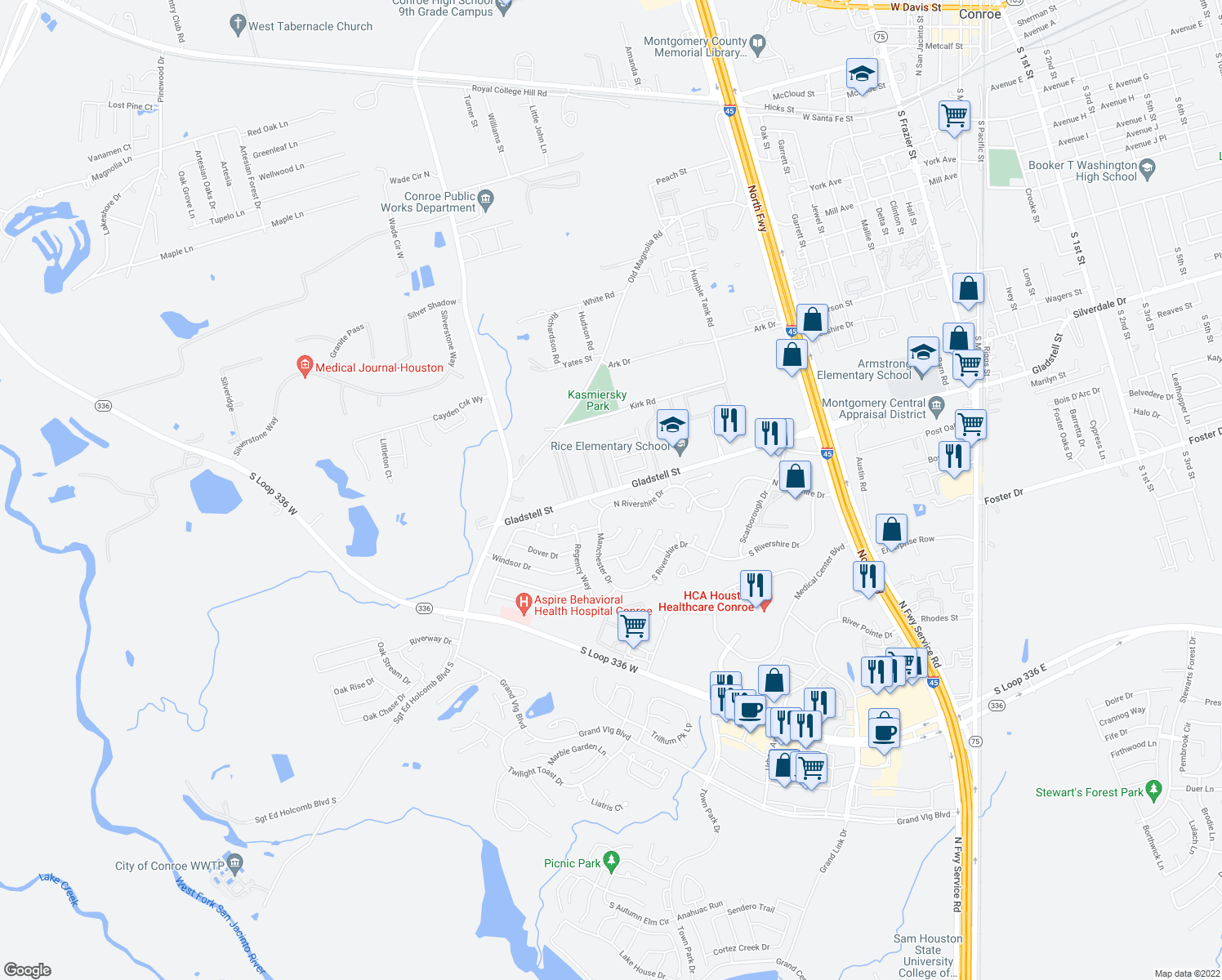 map of restaurants, bars, coffee shops, grocery stores, and more near 1100-1198 Meritage Park in Conroe