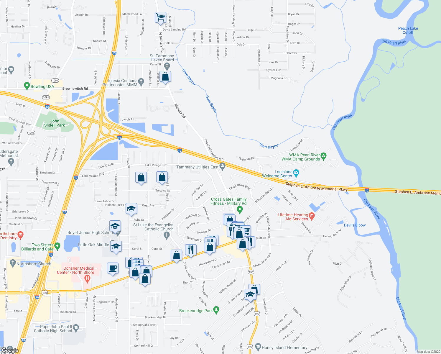 map of restaurants, bars, coffee shops, grocery stores, and more near 300 North Military Road in Slidell