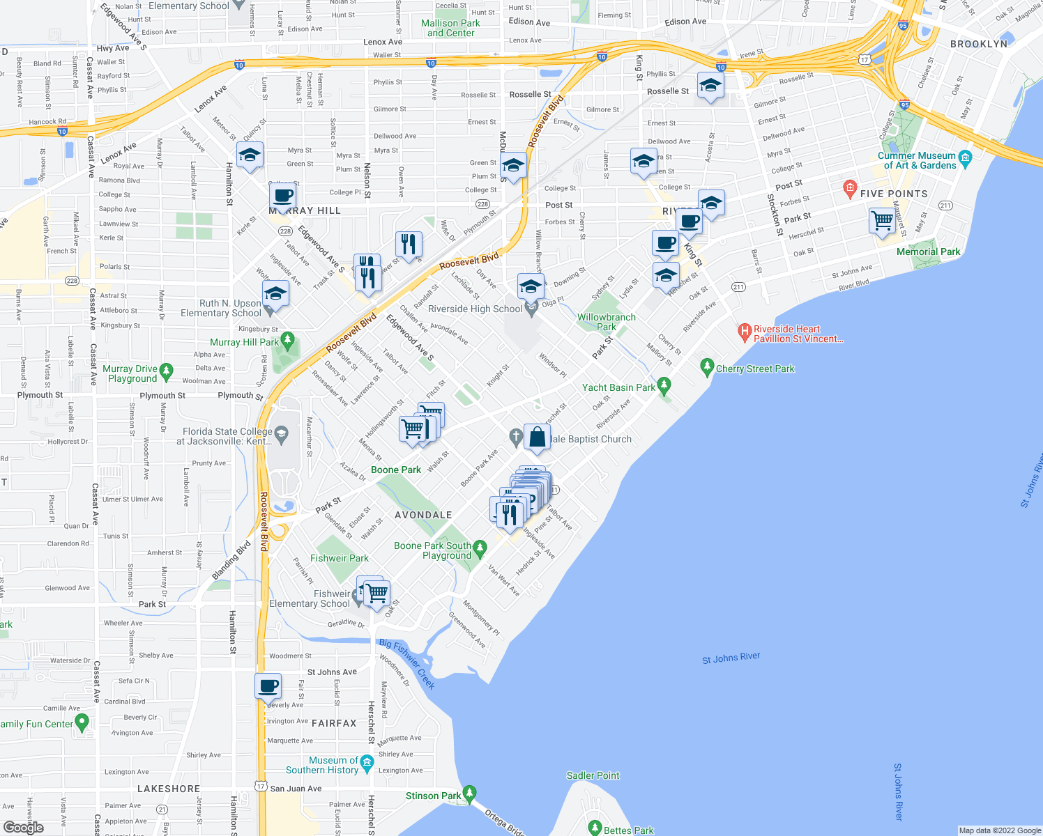 map of restaurants, bars, coffee shops, grocery stores, and more near 1548 Robinson Avenue in Jacksonville