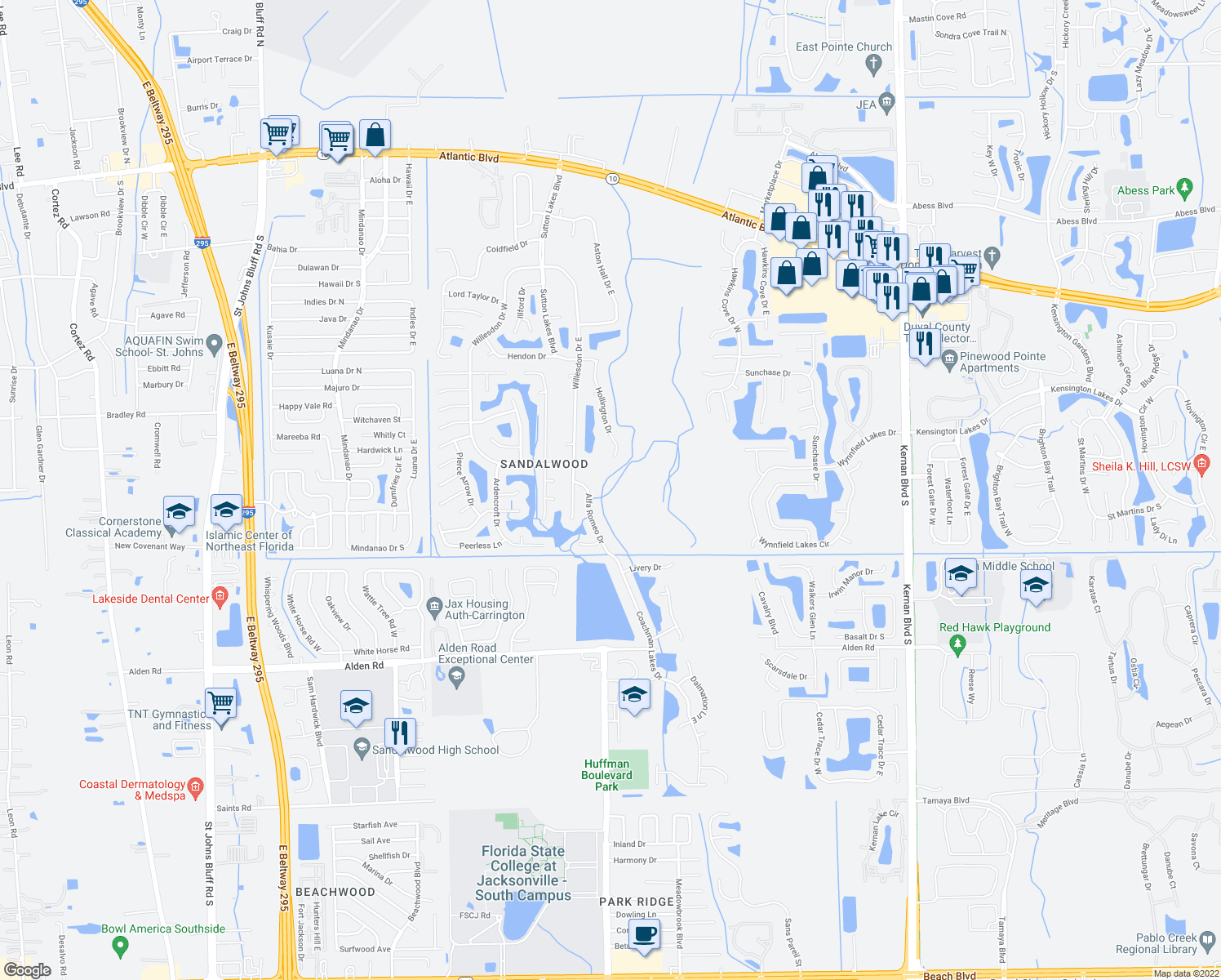 map of restaurants, bars, coffee shops, grocery stores, and more near 2107 Alfa Romeo Drive in Jacksonville