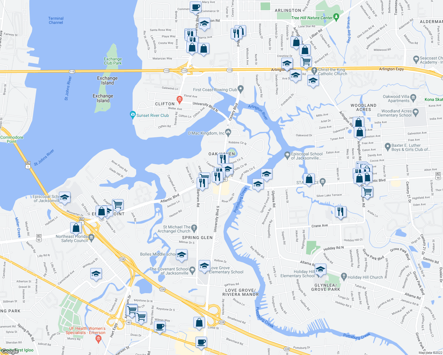 map of restaurants, bars, coffee shops, grocery stores, and more near Atlantic Blvd & University Blvd N in Jacksonville