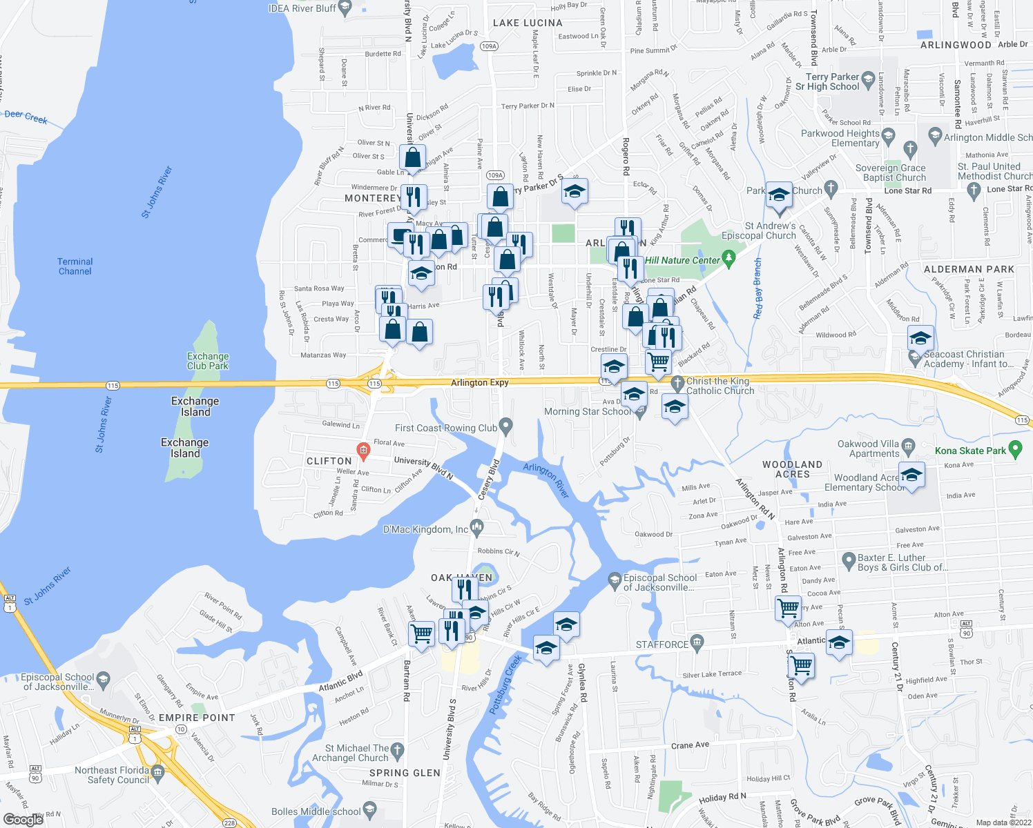 map of restaurants, bars, coffee shops, grocery stores, and more near 743 Egret Bluff Ln in Jacksonville