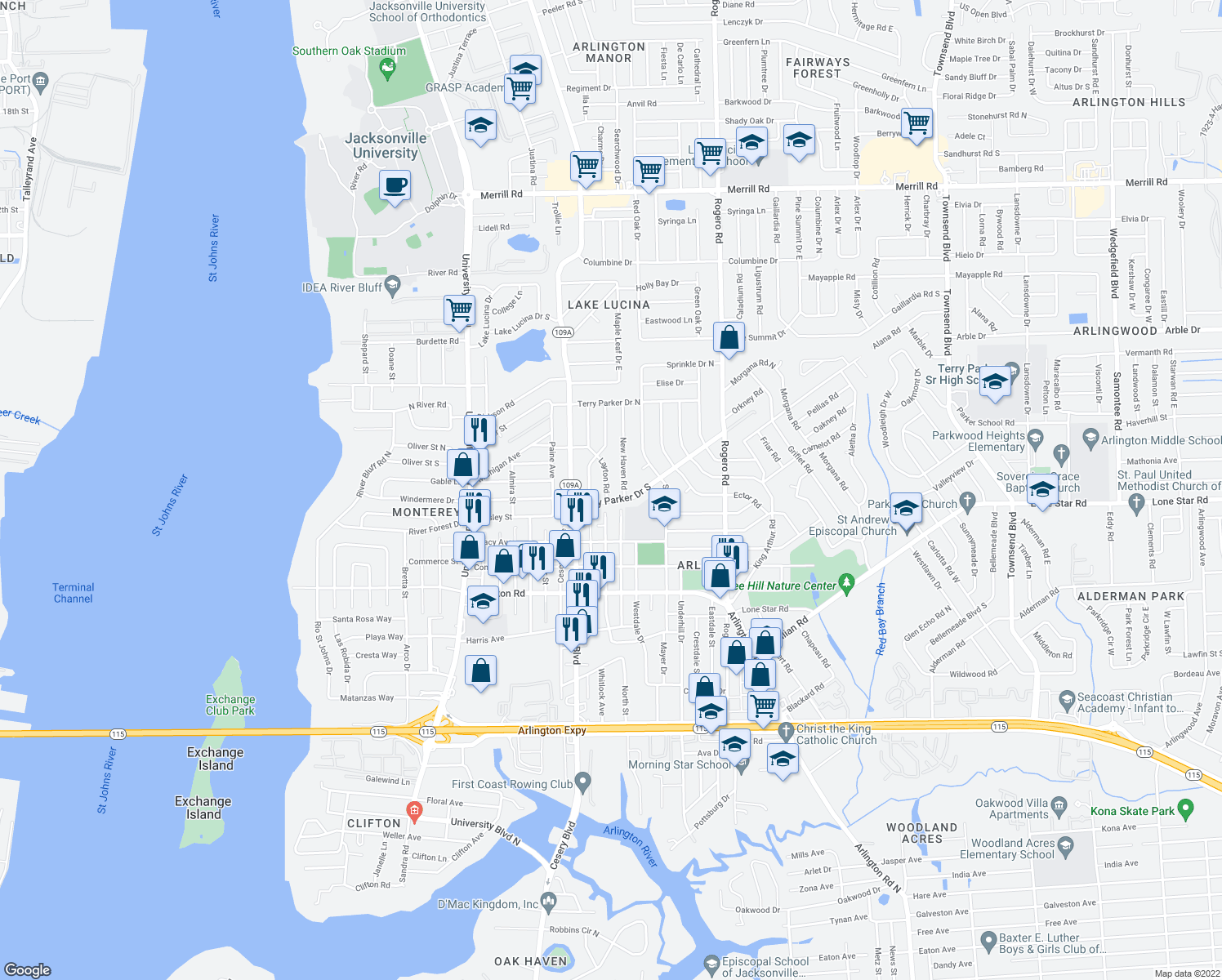 map of restaurants, bars, coffee shops, grocery stores, and more near 6024 Terry Parker Drive South in Jacksonville