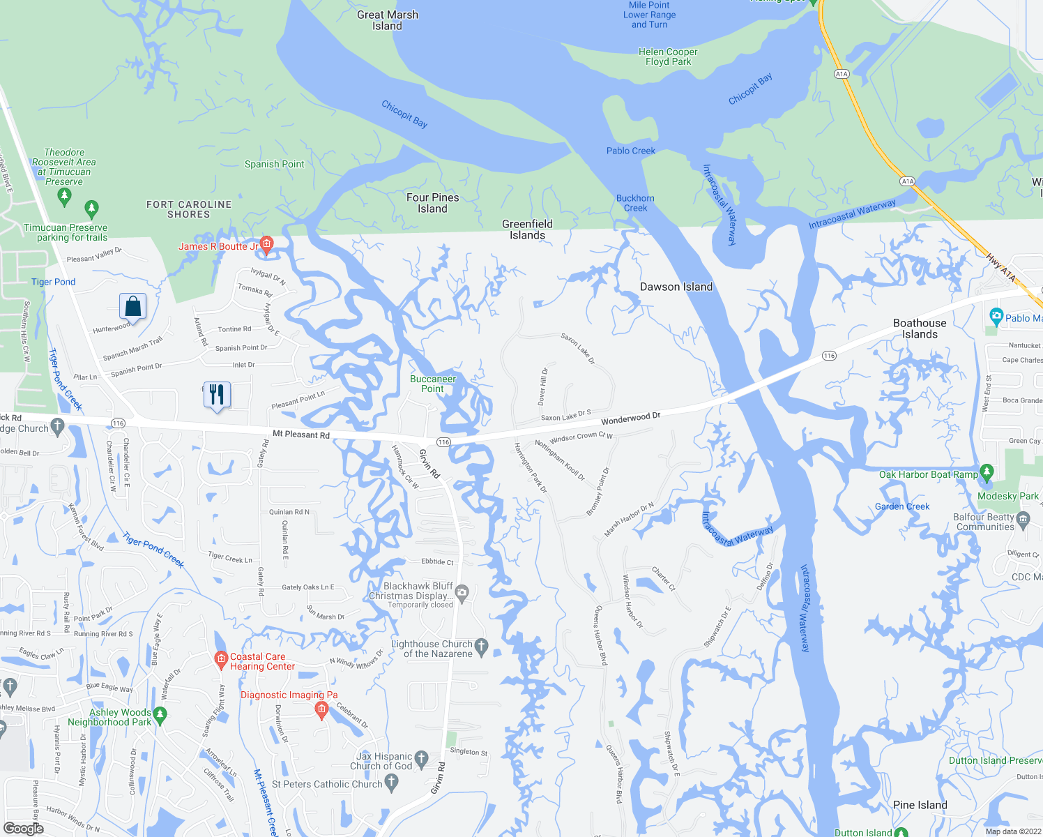 map of restaurants, bars, coffee shops, grocery stores, and more near 1631 Harrington Park Dr in Jacksonville