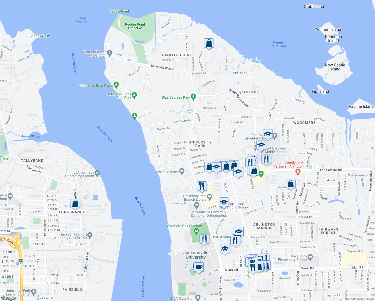 map of restaurants, bars, coffee shops, grocery stores, and more near 3800 University Blvd N in Jacksonville