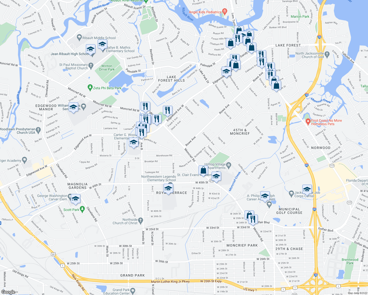 map of restaurants, bars, coffee shops, grocery stores, and more near Moncrief Rd & Rowe Ave in Jacksonville