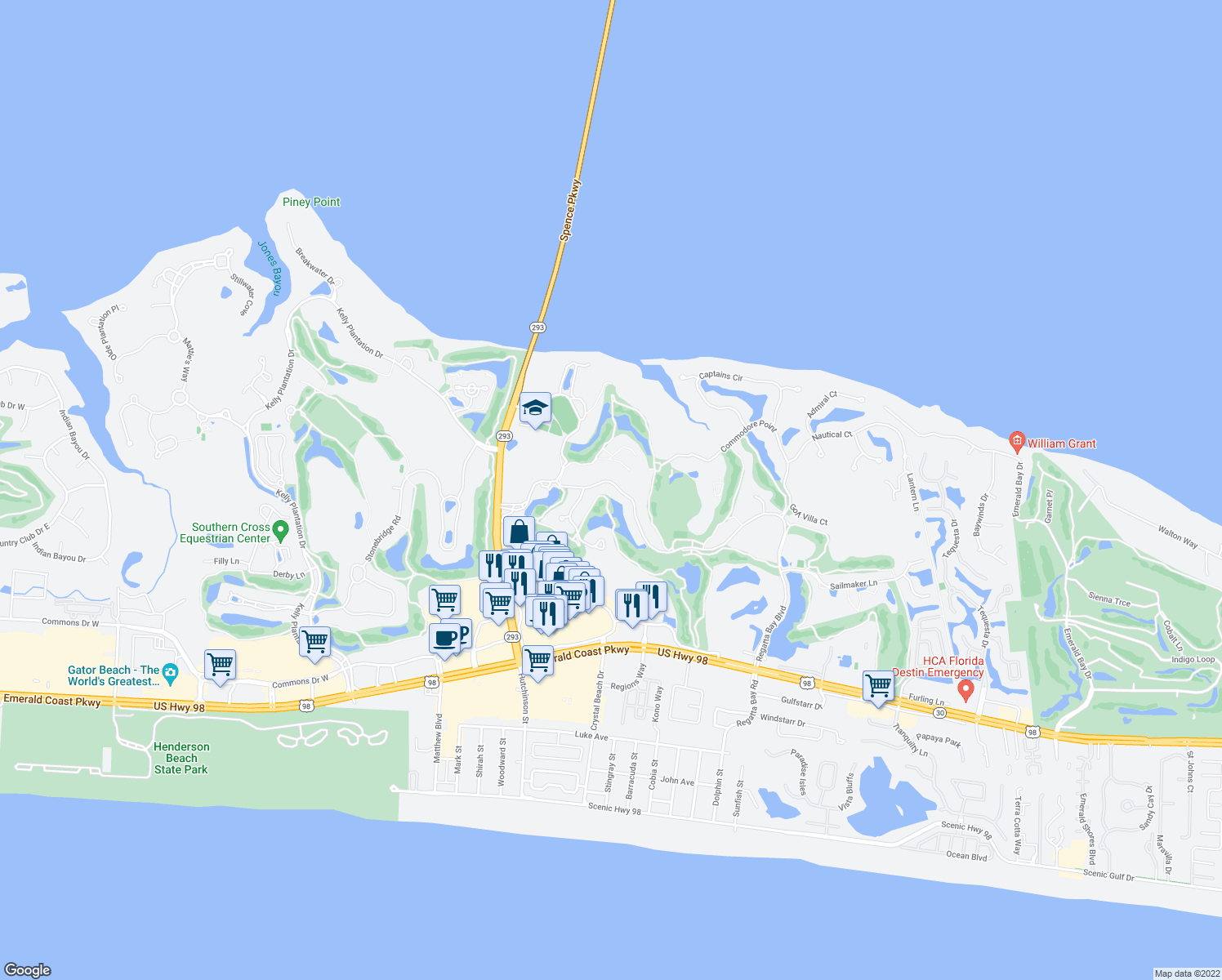 map of restaurants, bars, coffee shops, grocery stores, and more near 511 Regatta Bay Blvd in Destin