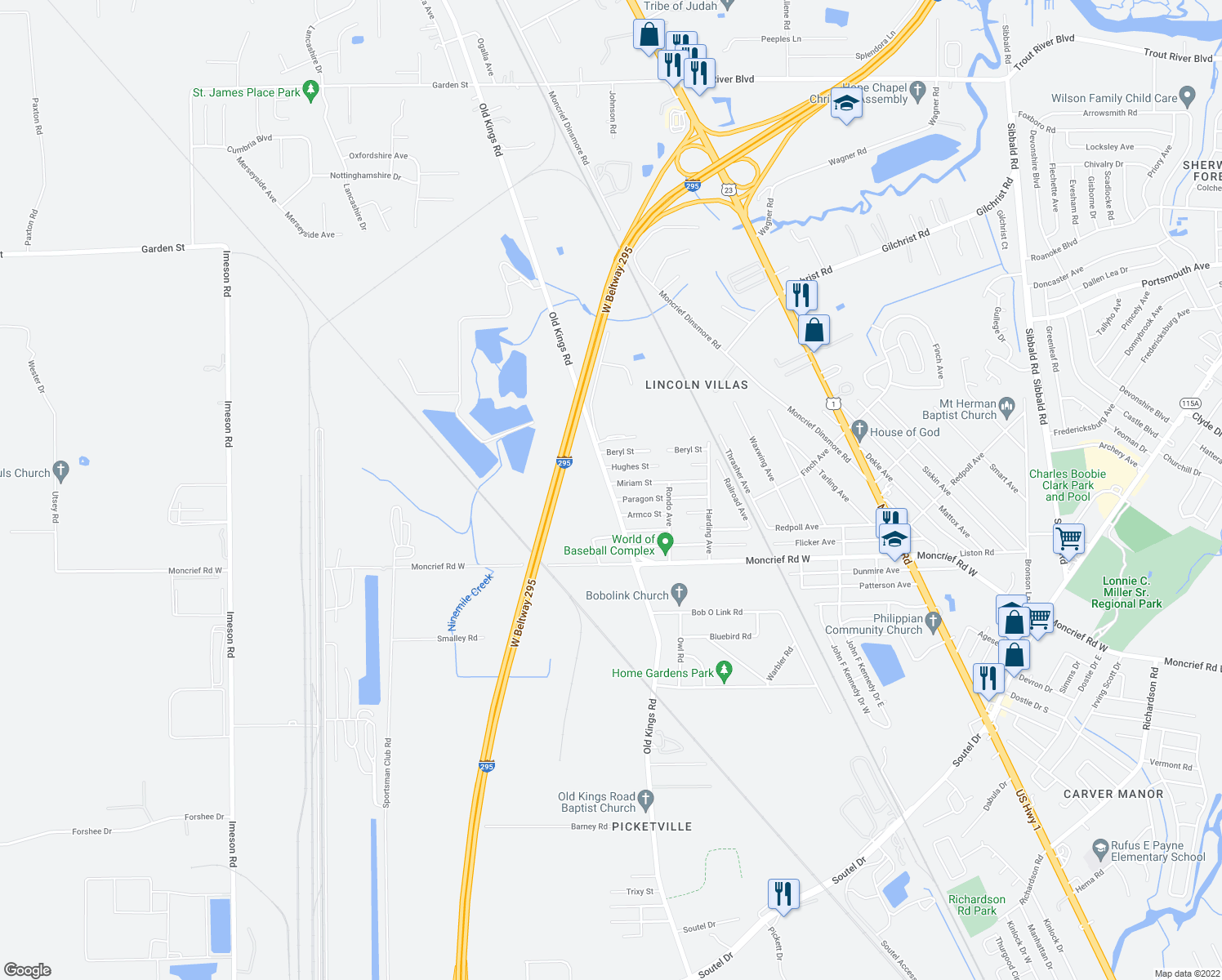 map of restaurants, bars, coffee shops, grocery stores, and more near 8030 Old Kings Rd in Jacksonville