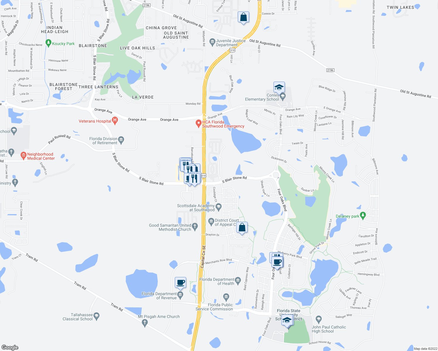 map of restaurants, bars, coffee shops, grocery stores, and more near 3653 Esplanade Way in Tallahassee