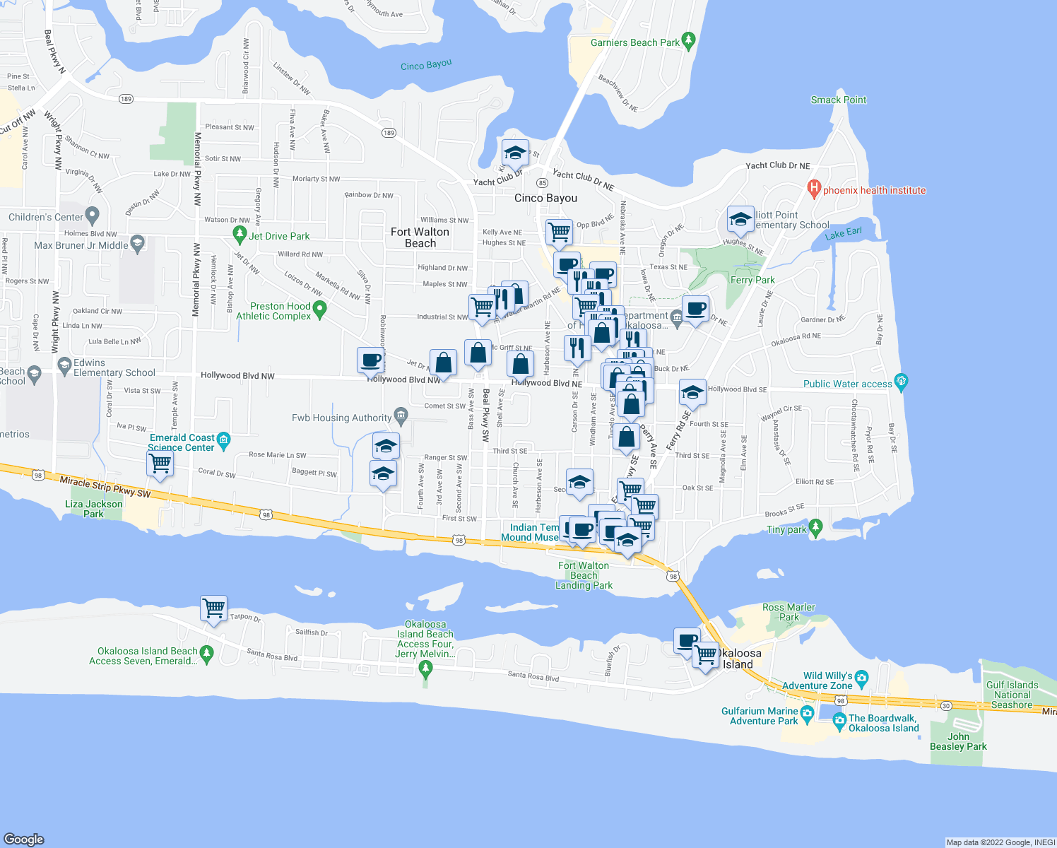map of restaurants, bars, coffee shops, grocery stores, and more near 31 Park Circle Southeast in Fort Walton Beach