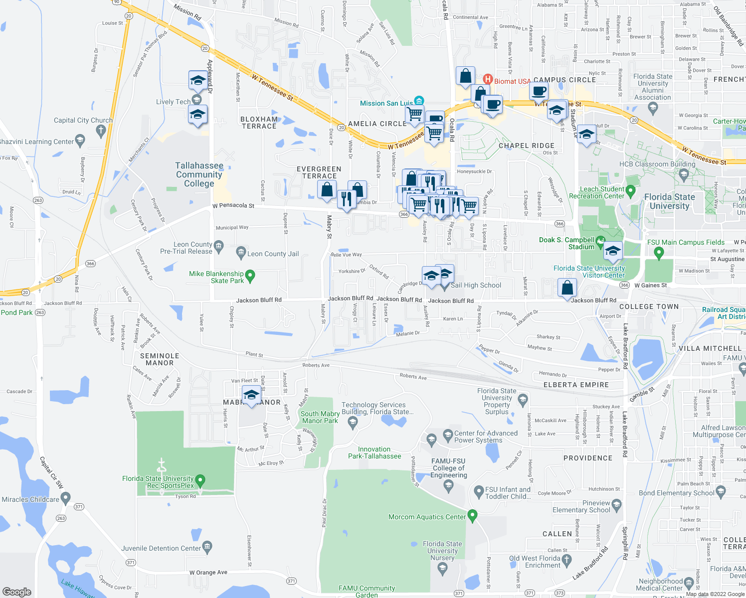 map of restaurants, bars, coffee shops, grocery stores, and more near 2315 Jackson Bluff Rd in Tallahassee