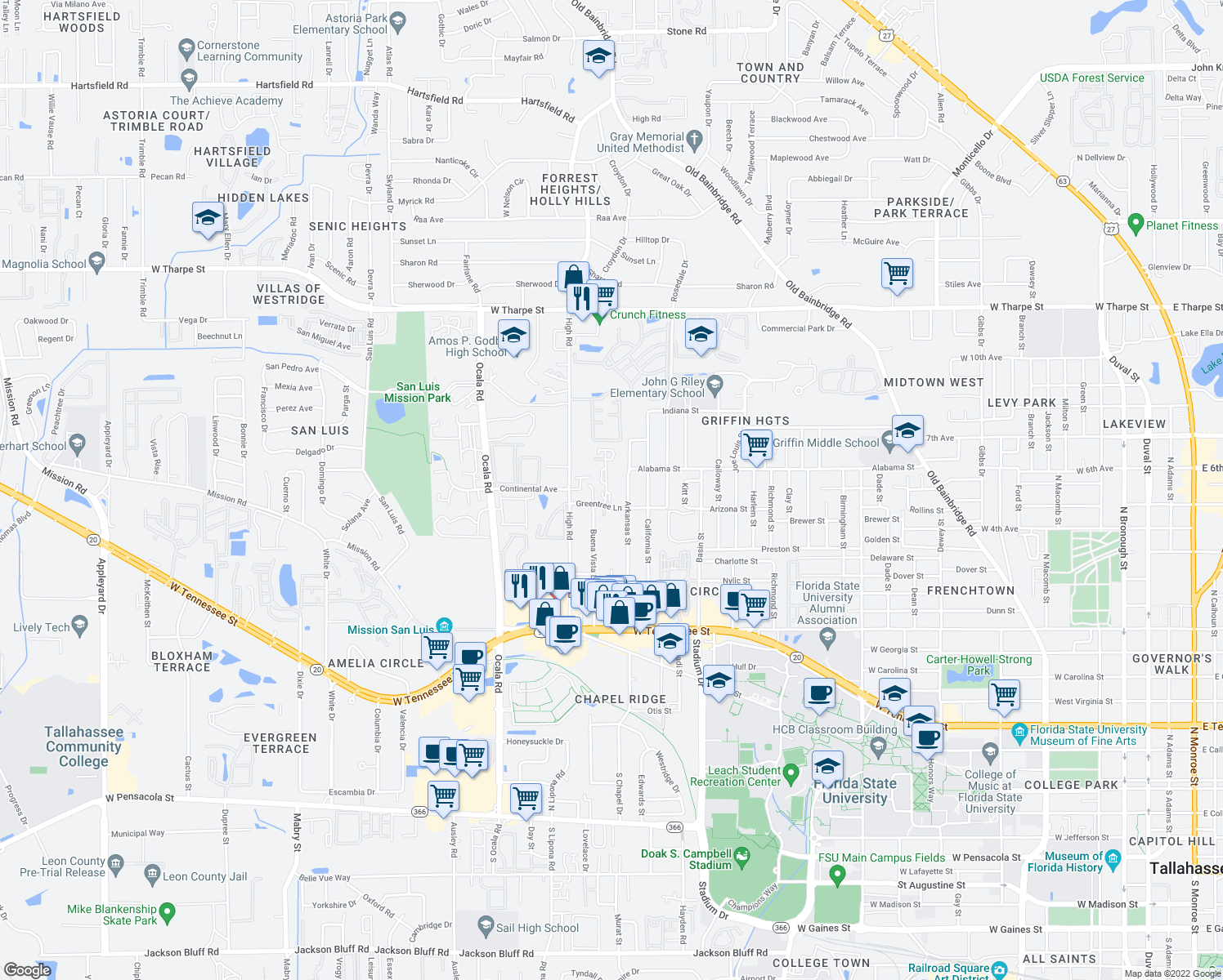 map of restaurants, bars, coffee shops, grocery stores, and more near 1104 Greentree Ct in Tallahassee