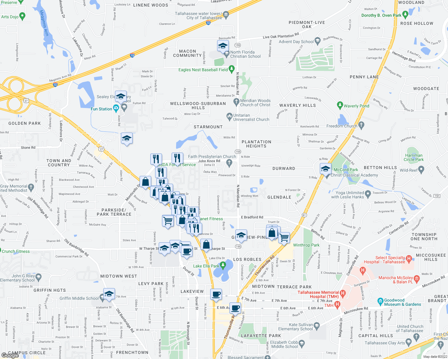map of restaurants, bars, coffee shops, grocery stores, and more near 265 Pinewood Drive in Tallahassee