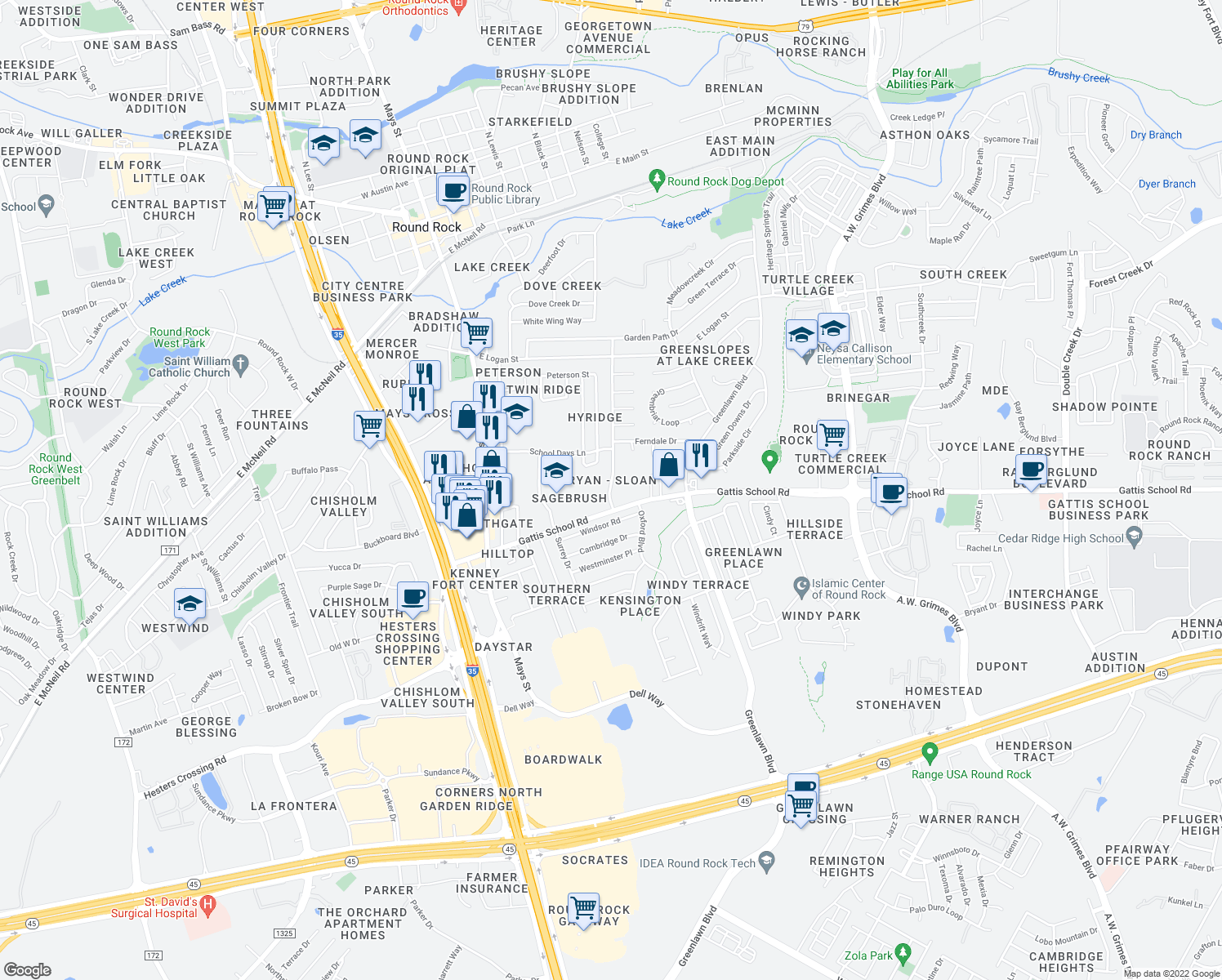map of restaurants, bars, coffee shops, grocery stores, and more near 1500 Lawnmont Drive in Round Rock