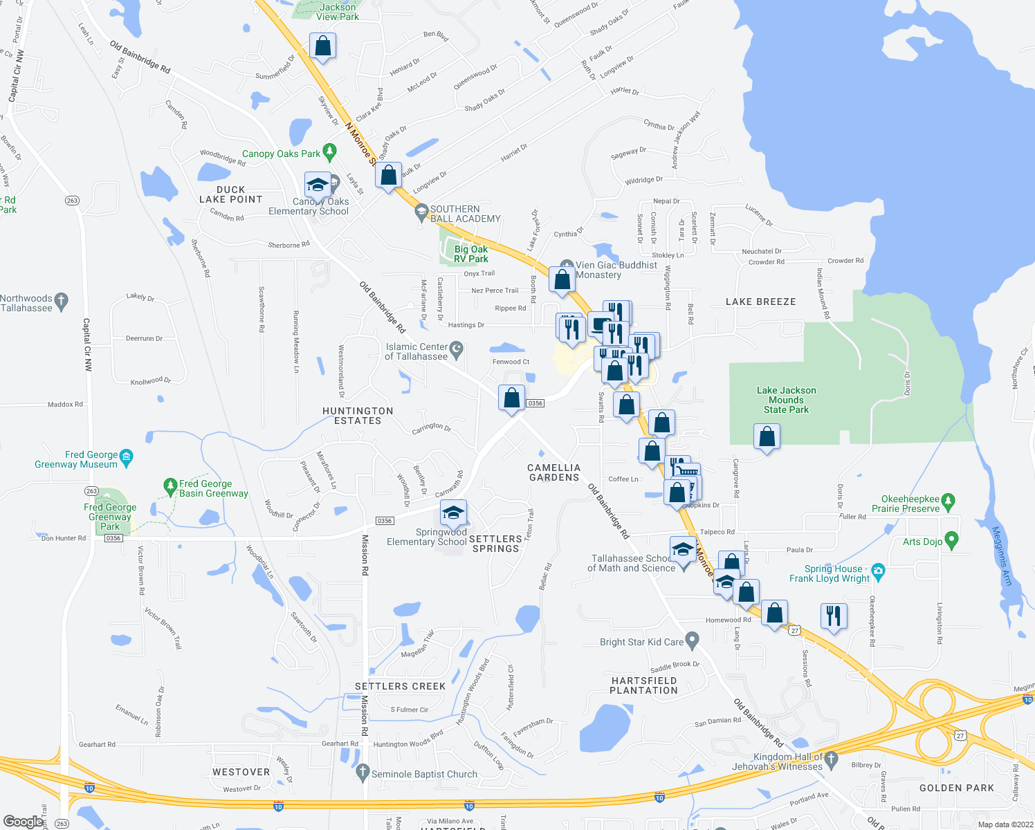 map of restaurants, bars, coffee shops, grocery stores, and more near Old Bainbridge Road & Fred George Road in Tallahassee