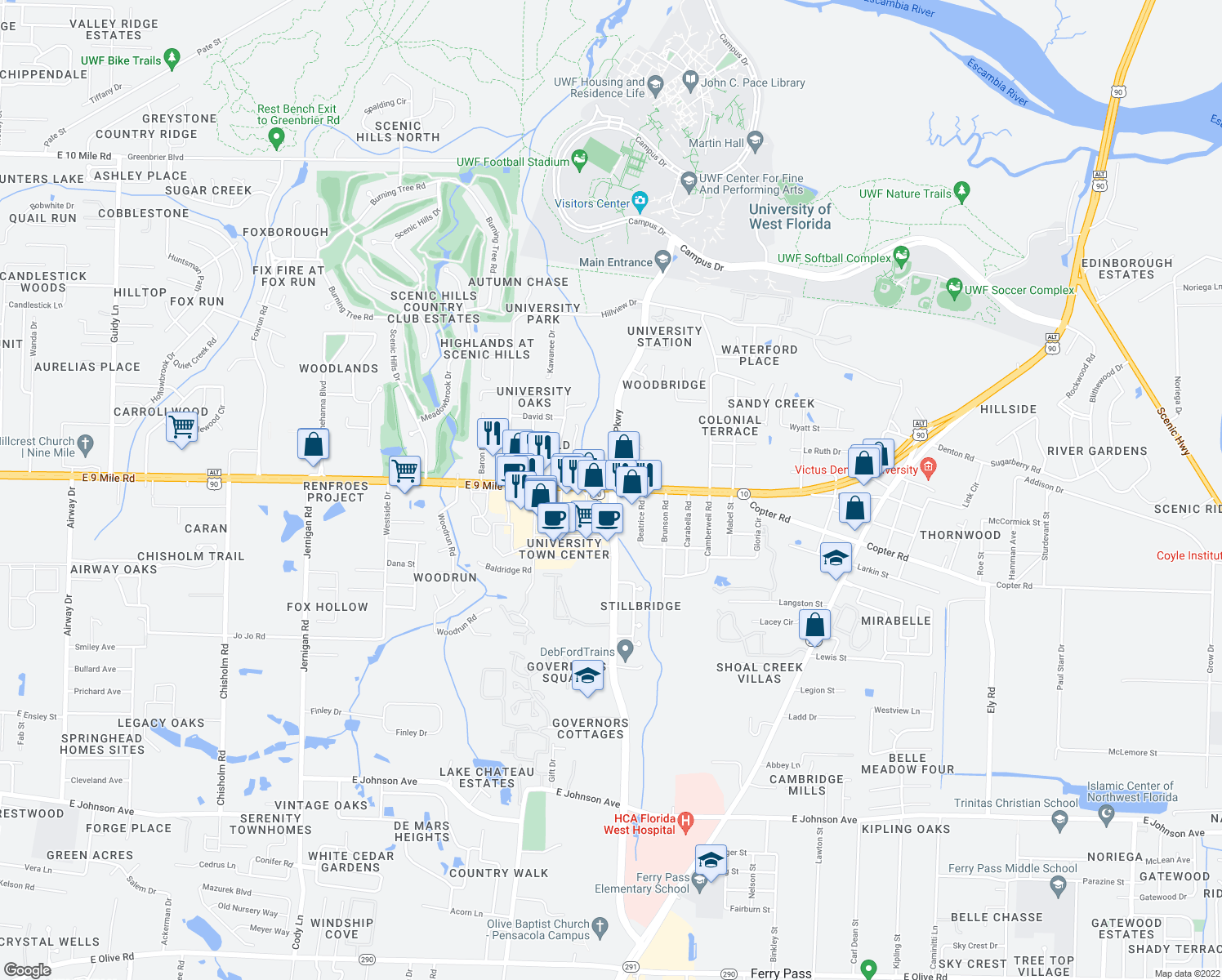 map of restaurants, bars, coffee shops, grocery stores, and more near E 9 Mile Rd & University Pkwy in Ferry Pass