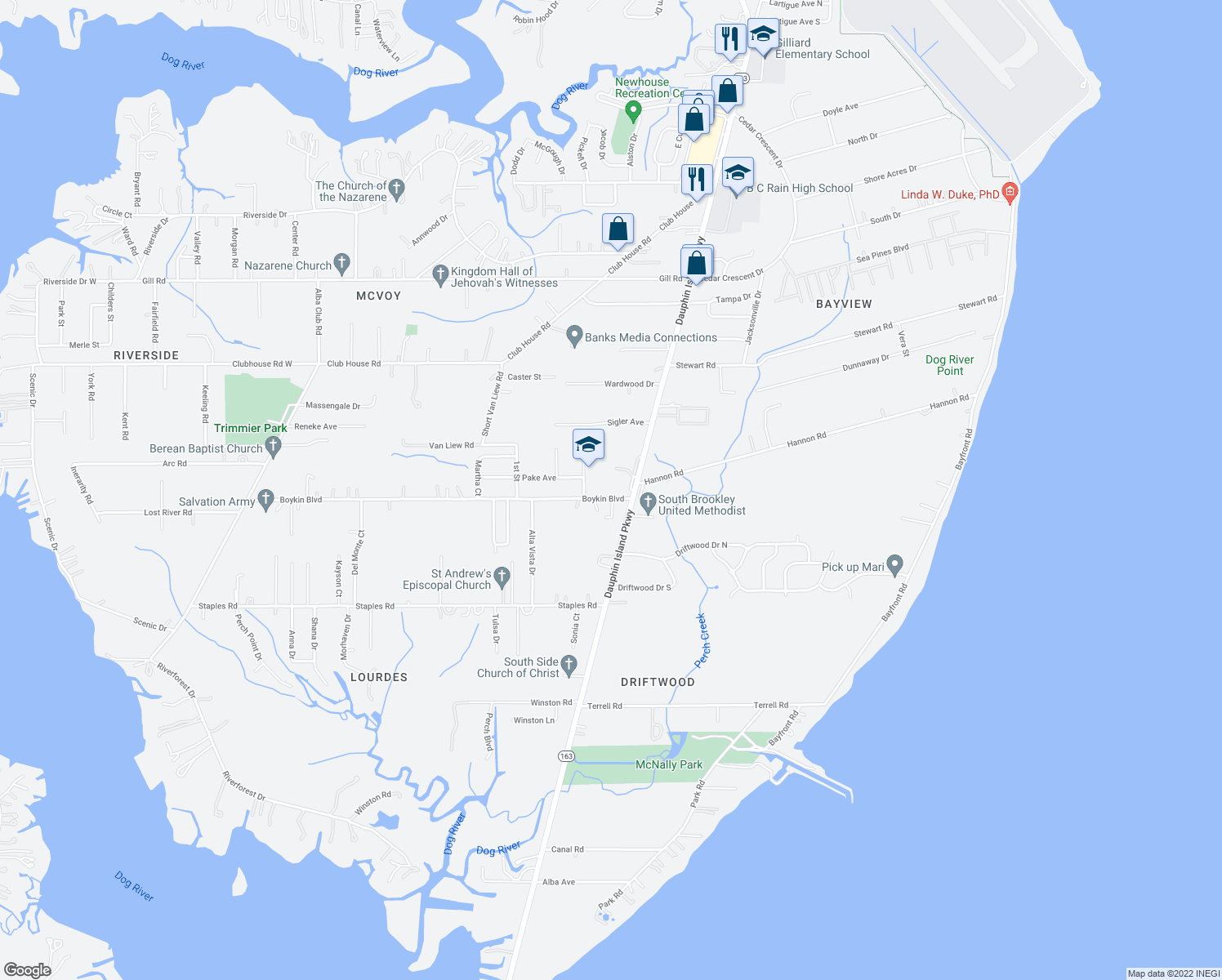 map of restaurants, bars, coffee shops, grocery stores, and more near 1601-1641 Boykin Boulevard in Mobile