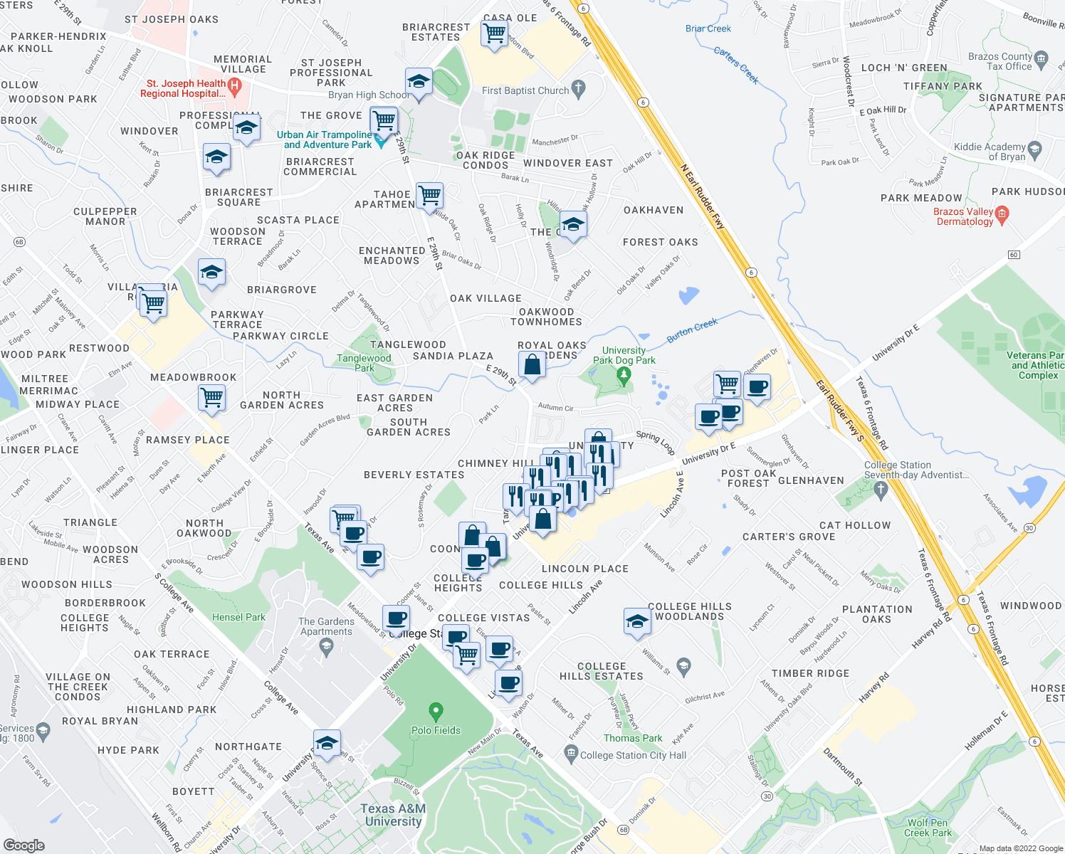 map of restaurants, bars, coffee shops, grocery stores, and more near 801 Spring Loop in College Station