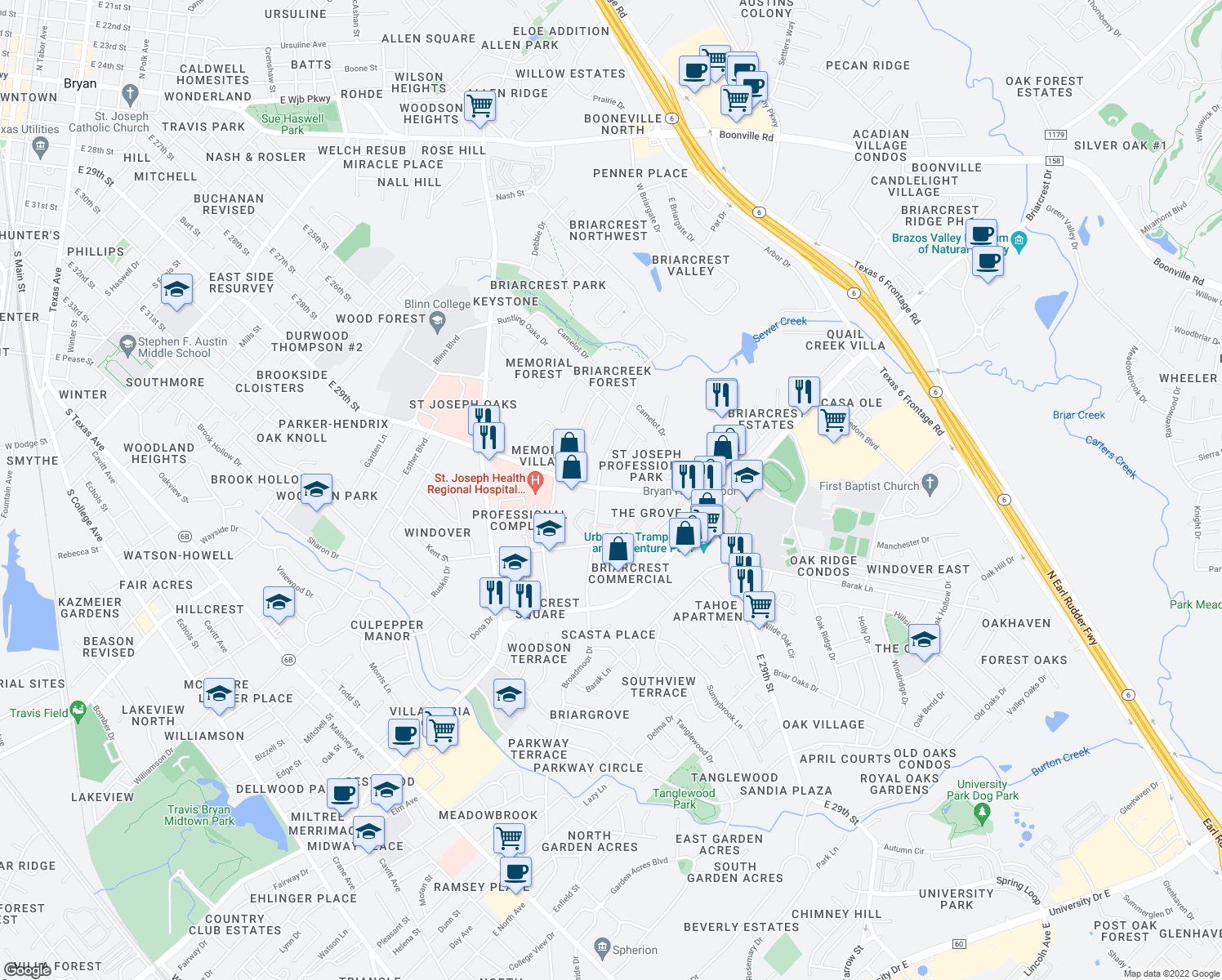map of restaurants, bars, coffee shops, grocery stores, and more near 3030 East 29th Street in Bryan