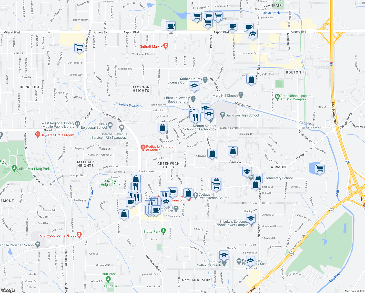 map of restaurants, bars, coffee shops, grocery stores, and more near 4054-4098 Sunnyvale Lane South in Mobile