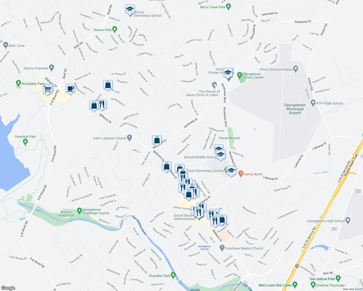 map of restaurants, bars, coffee shops, grocery stores, and more near 500 Algerita Drive in Georgetown