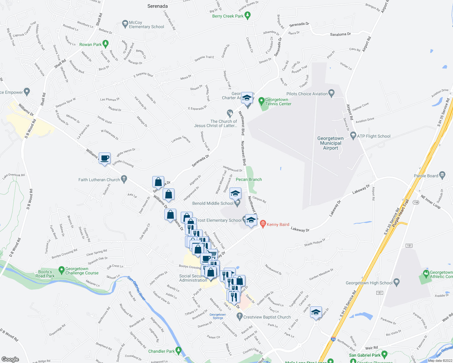 map of restaurants, bars, coffee shops, grocery stores, and more near 907 Stagecoach Drive in Georgetown