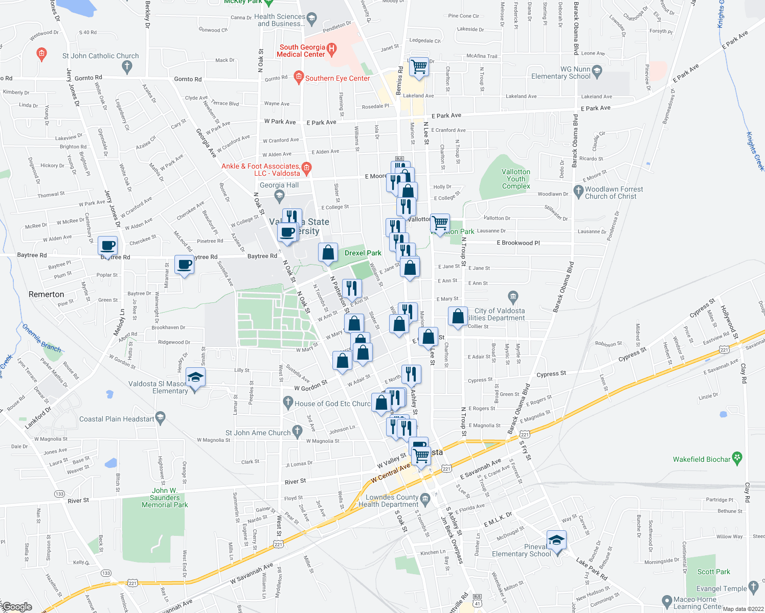 map of restaurants, bars, coffee shops, grocery stores, and more near 210-298 E Mary St in Valdosta