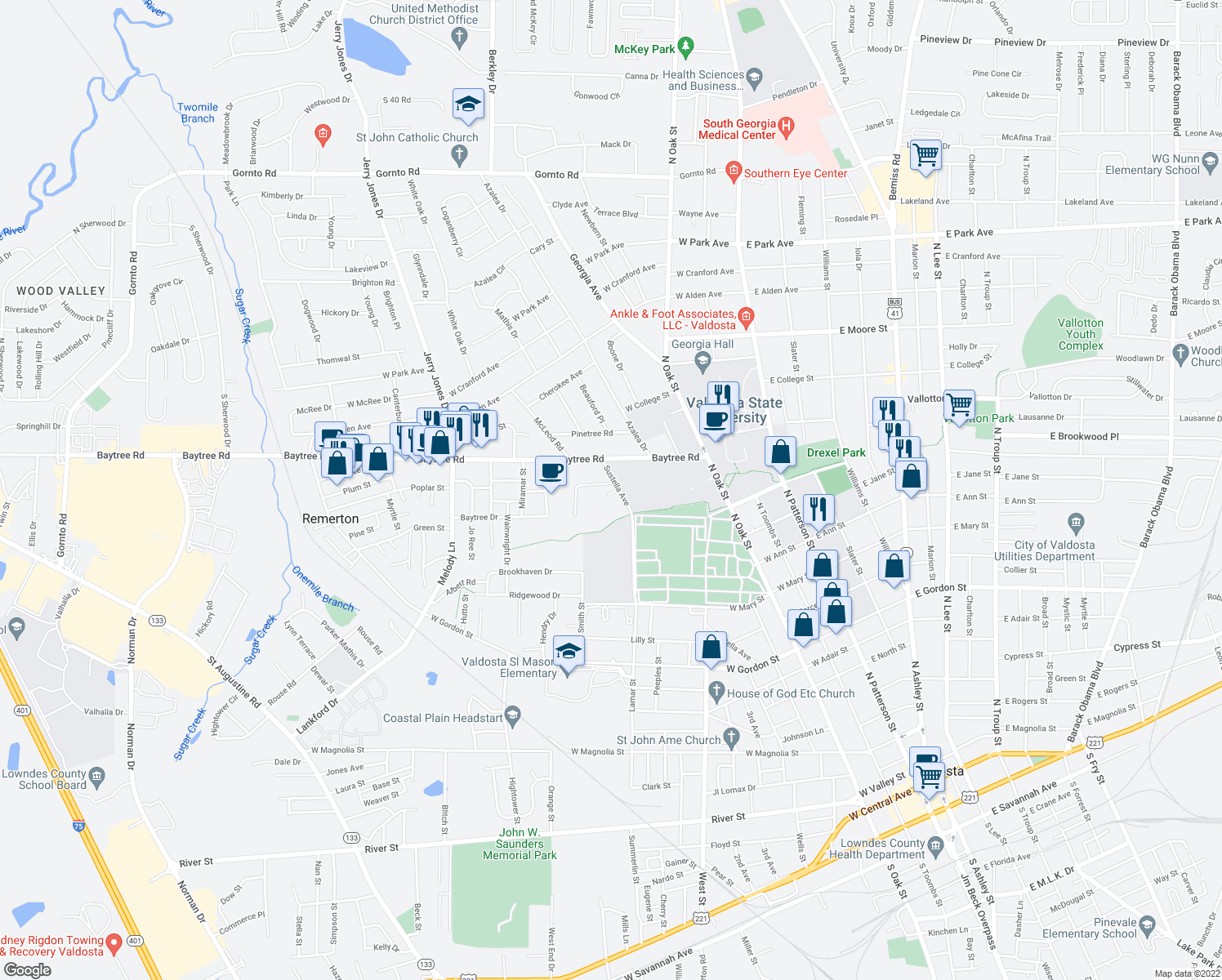 map of restaurants, bars, coffee shops, grocery stores, and more near 1405 Sustella Avenue in Valdosta