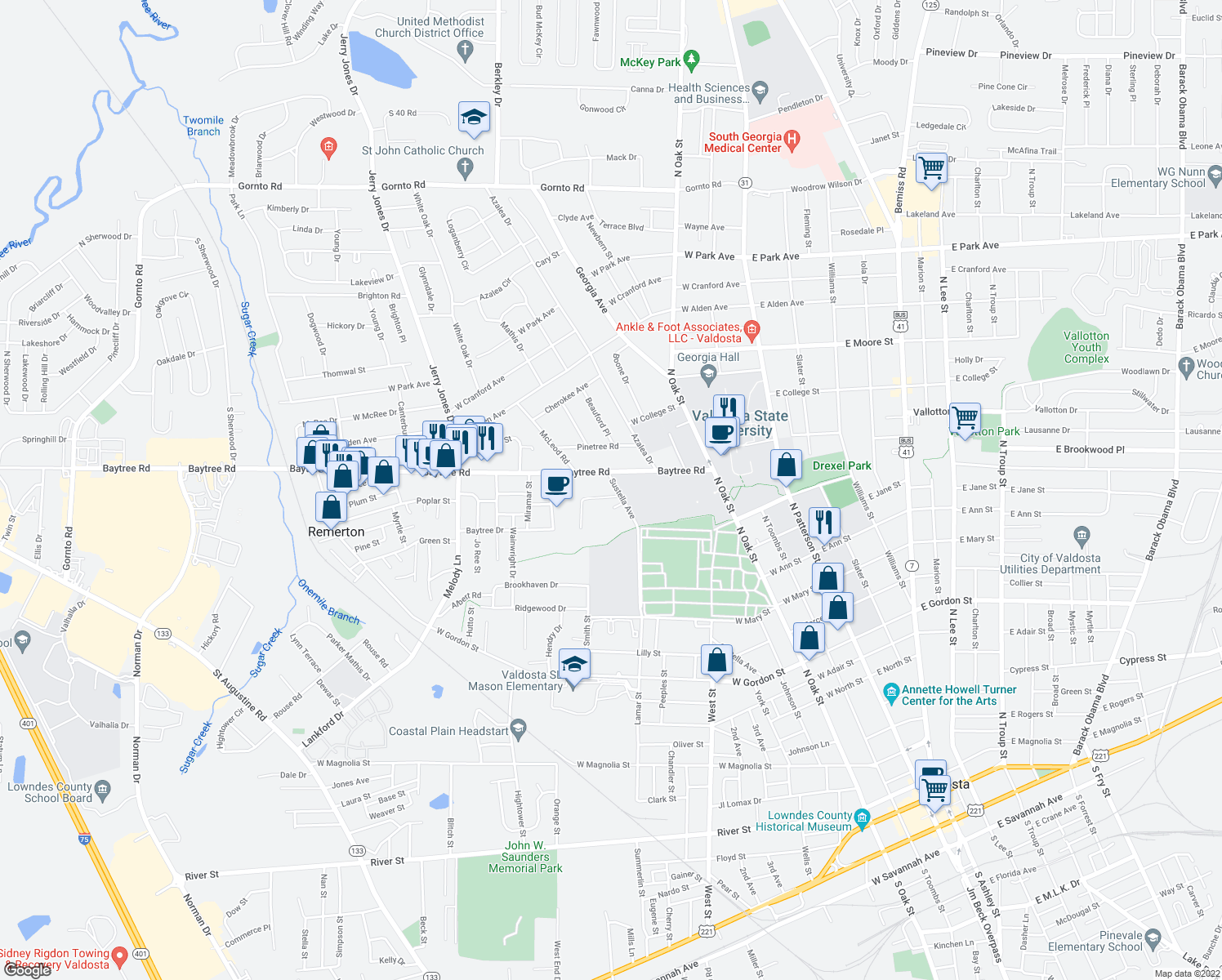 map of restaurants, bars, coffee shops, grocery stores, and more near 510 Brookdale Drive in Valdosta