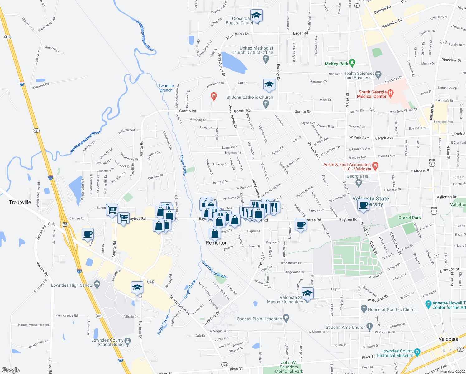 map of restaurants, bars, coffee shops, grocery stores, and more near 1210 W Park Ave in Valdosta