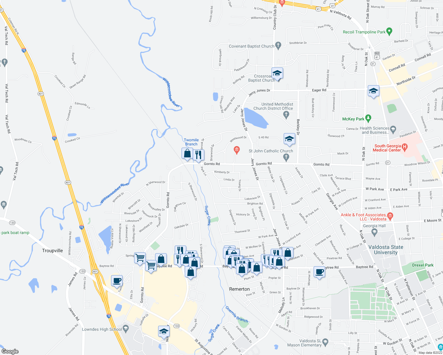 map of restaurants, bars, coffee shops, grocery stores, and more near 1214 Linda Drive in Valdosta