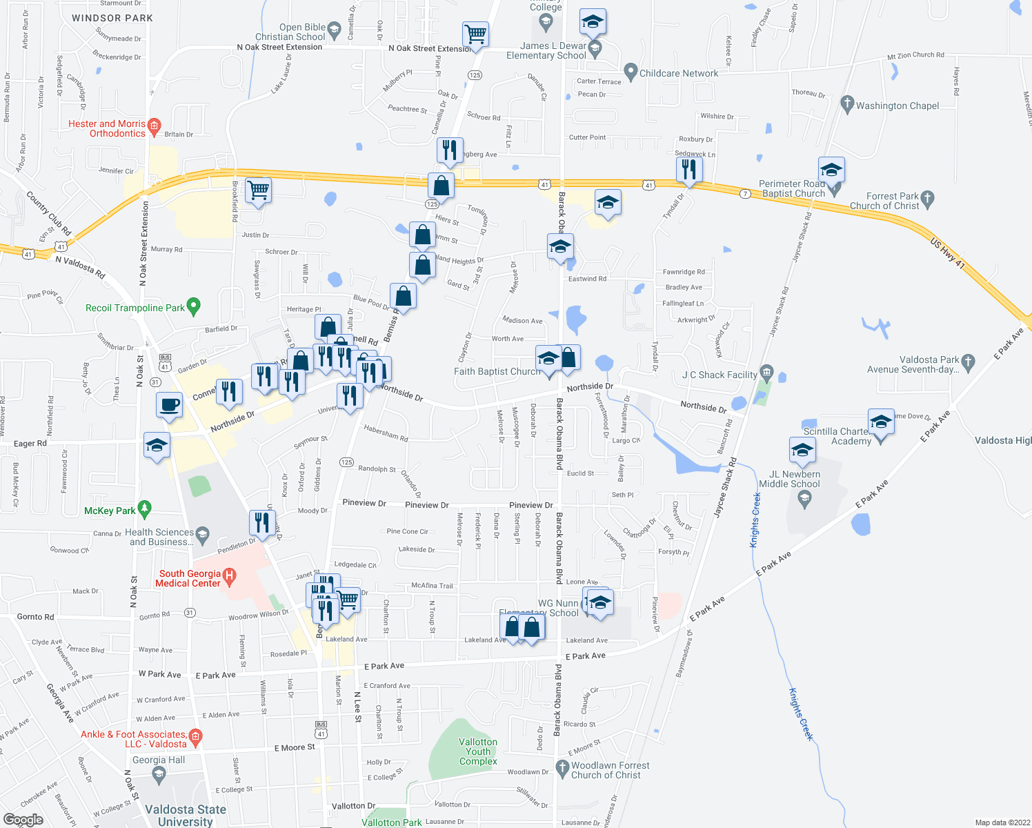 map of restaurants, bars, coffee shops, grocery stores, and more near 2514 Deborah Dr in Valdosta