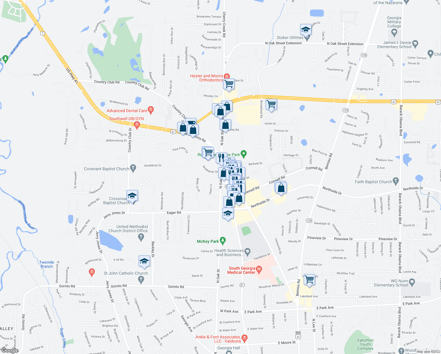 map of restaurants, bars, coffee shops, grocery stores, and more near 2920 N Oak St in Valdosta