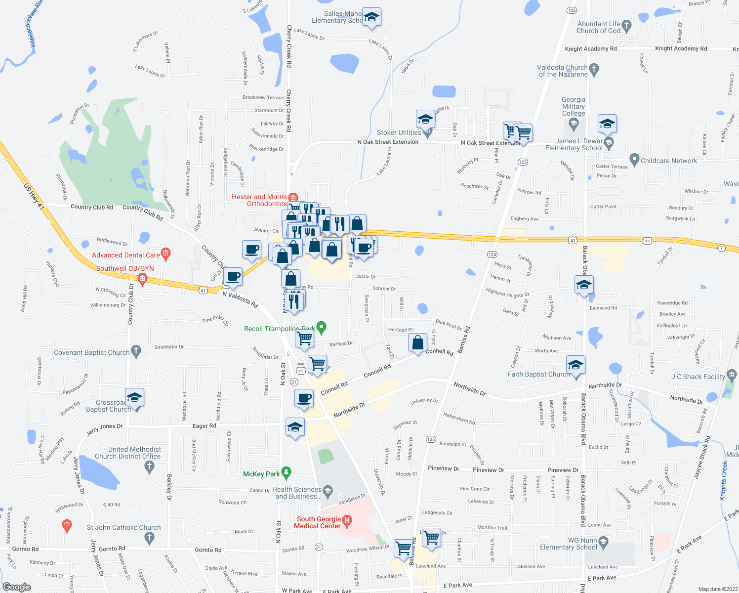 map of restaurants, bars, coffee shops, grocery stores, and more near 3064 Schroer Drive in Valdosta