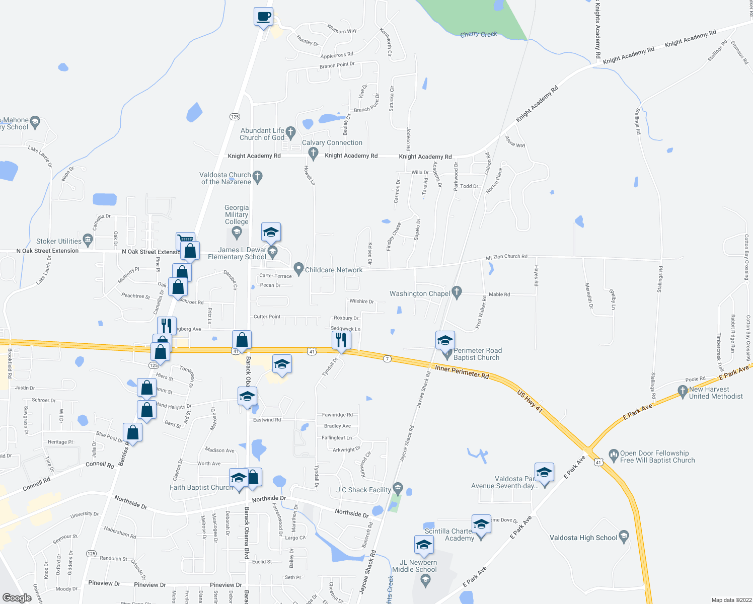 map of restaurants, bars, coffee shops, grocery stores, and more near 4210 Wilshire Drive in Valdosta