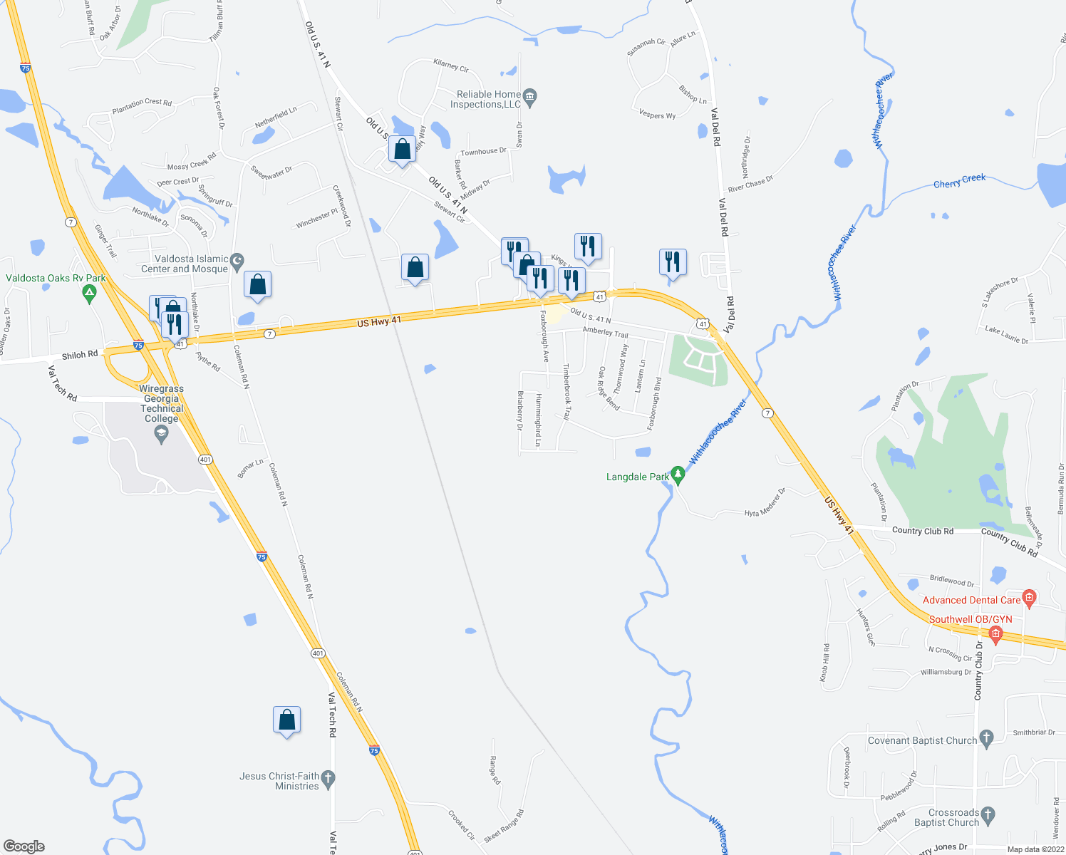 map of restaurants, bars, coffee shops, grocery stores, and more near 4633 Briarberry Drive in Valdosta