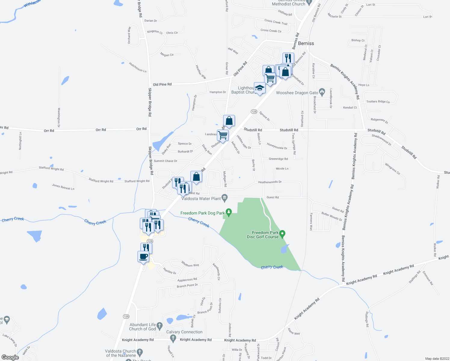 map of restaurants, bars, coffee shops, grocery stores, and more near 4185 Hamilton Cir in Valdosta