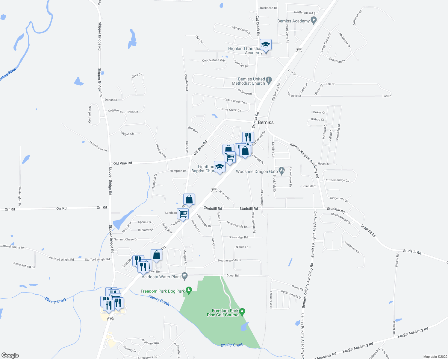map of restaurants, bars, coffee shops, grocery stores, and more near 3805 Spruce Drive in Valdosta